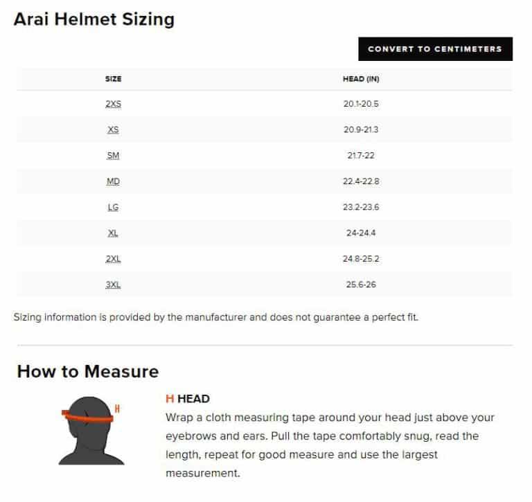 Arai XD4 Helmet Size Chart