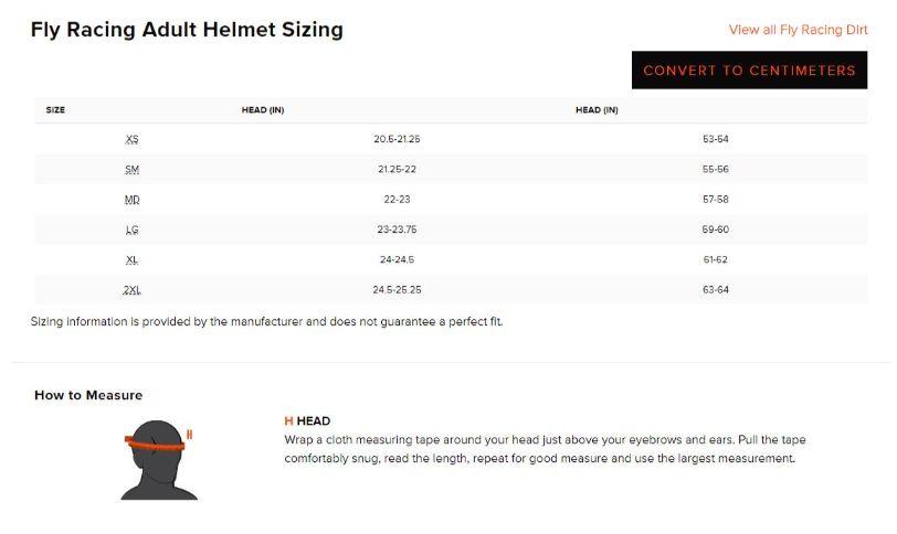 Fly Racing Helmet Size Chart